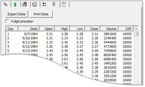 Track 'n Trade Stocks Control Panel Tabs